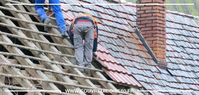 reparation d'une toiture sous la pluie Oise